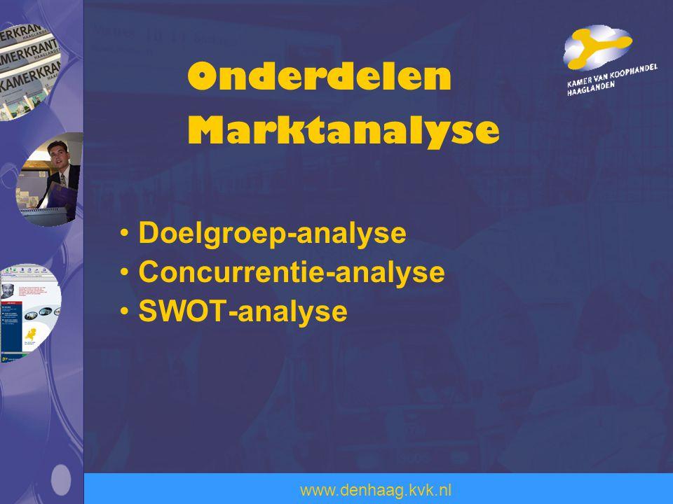 Onderdelen Marktanalyse Doelgroep-analyse Concurrentie-analyse