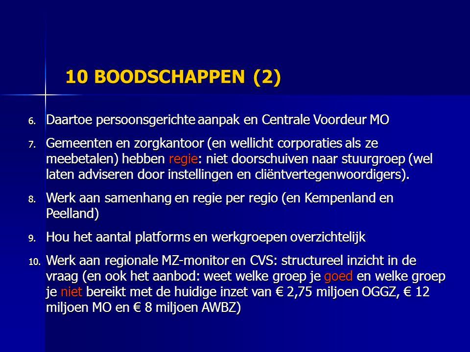 10 BOODSCHAPPEN (2) Daartoe persoonsgerichte aanpak en Centrale Voordeur MO.