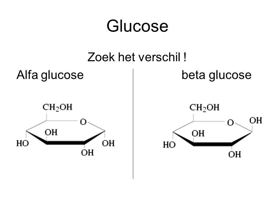 Glucose Zoek het verschil ! Alfa glucose beta glucose