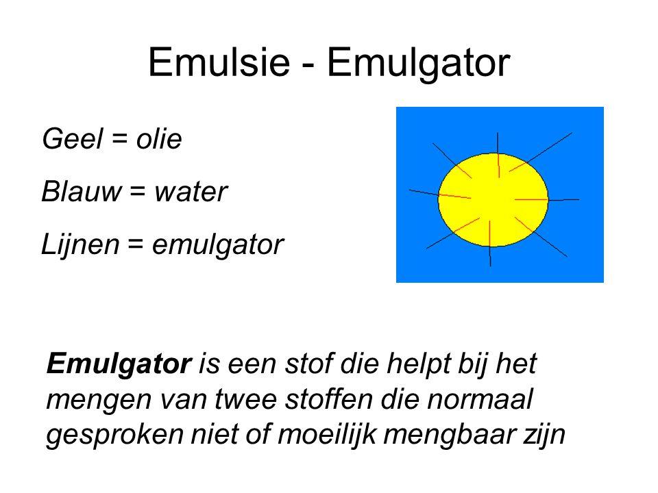 Emulsie - Emulgator Geel = olie Blauw = water Lijnen = emulgator