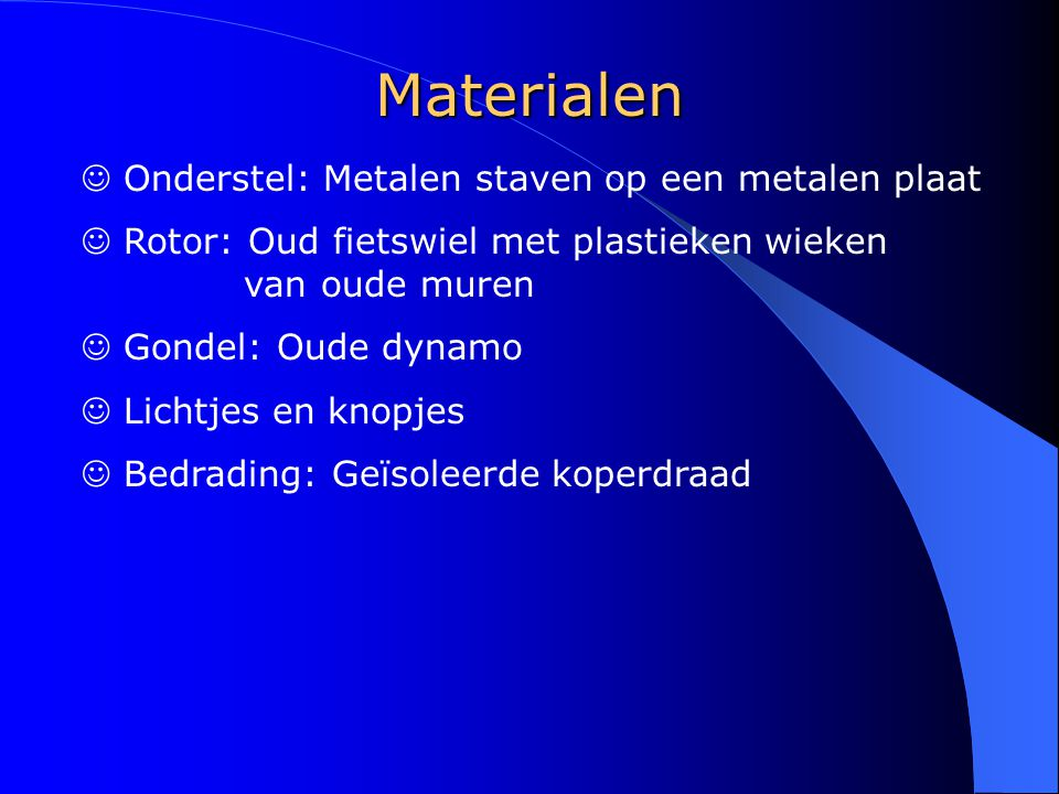 Materialen Onderstel: Metalen staven op een metalen plaat