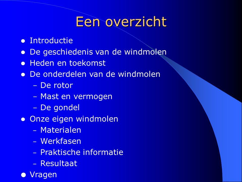 Een overzicht Introductie De geschiedenis van de windmolen