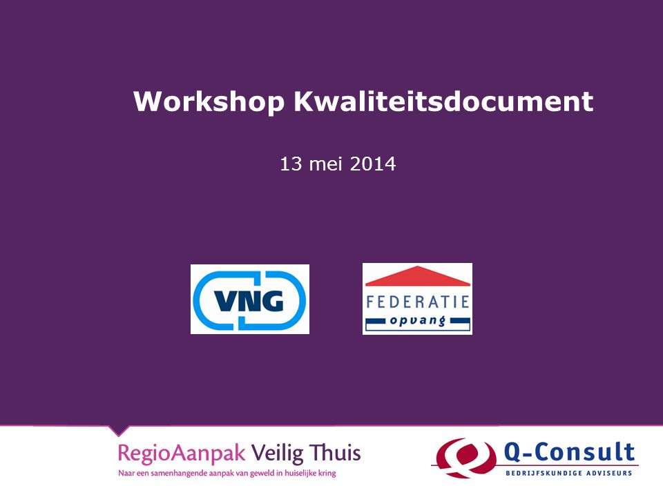 Workshop Kwaliteitsdocument
