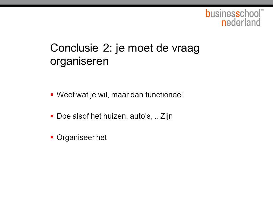 Conclusie 2: je moet de vraag organiseren