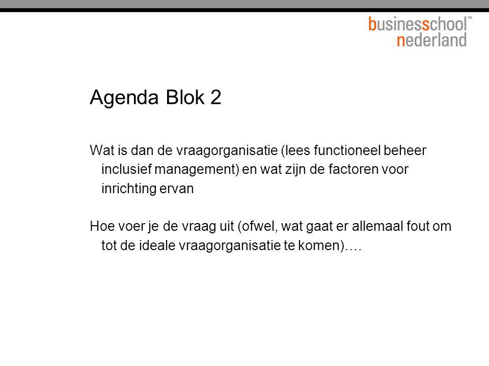 Agenda Blok 2 Wat is dan de vraagorganisatie (lees functioneel beheer inclusief management) en wat zijn de factoren voor inrichting ervan.