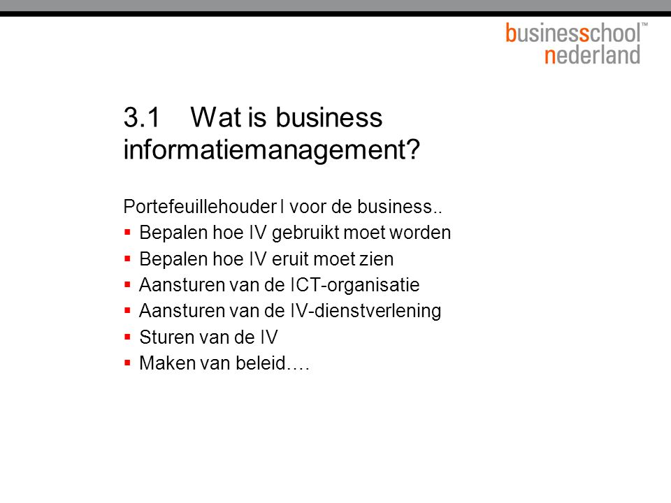 3.1 Wat is business informatiemanagement