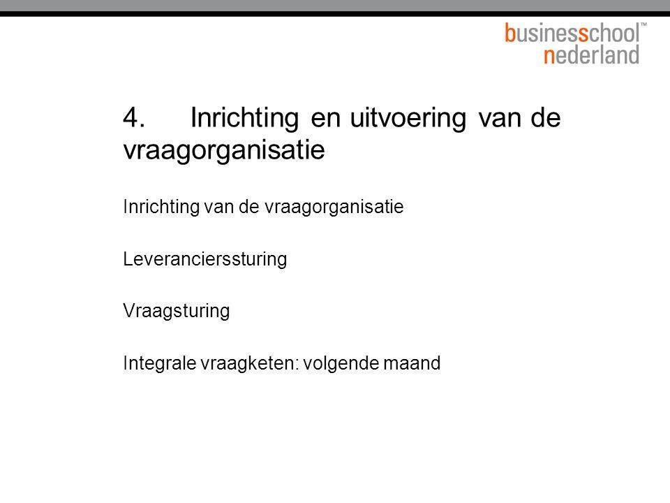 4. Inrichting en uitvoering van de vraagorganisatie