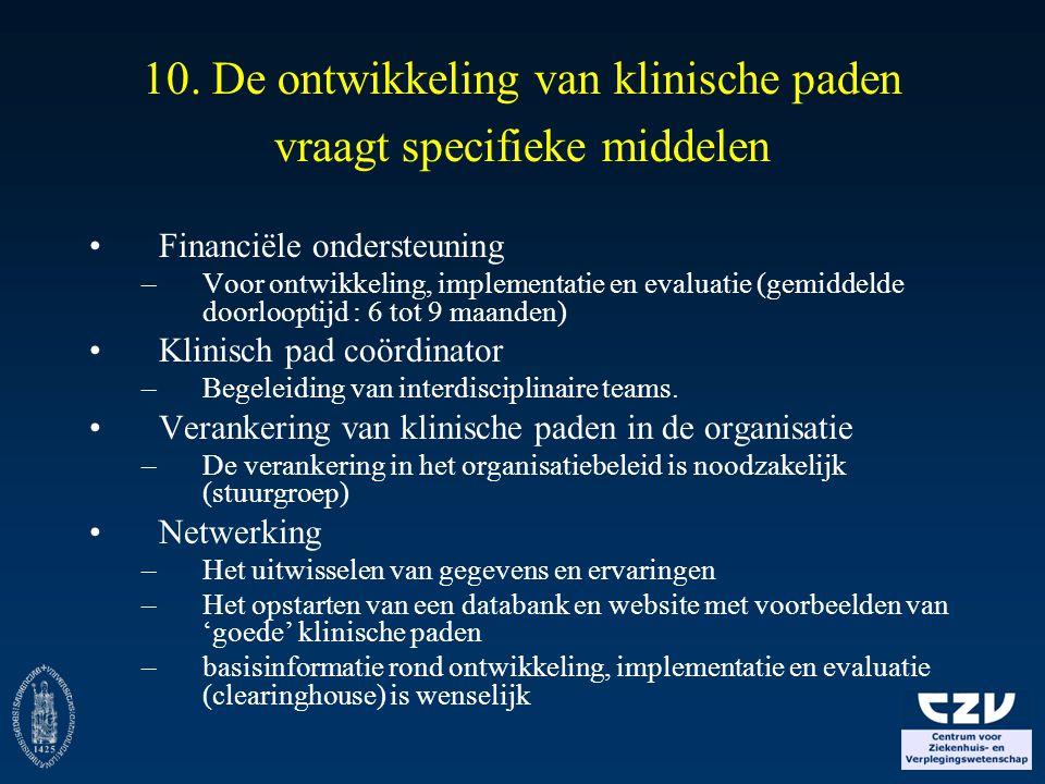 10. De ontwikkeling van klinische paden vraagt specifieke middelen