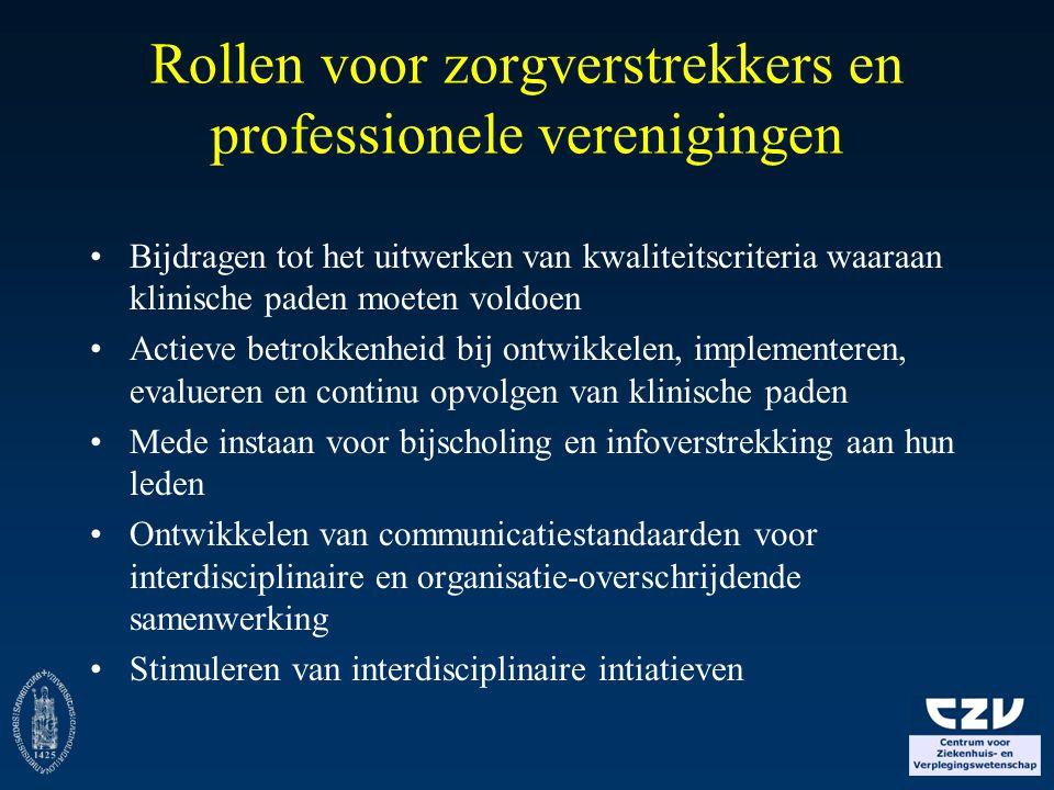 Rollen voor zorgverstrekkers en professionele verenigingen
