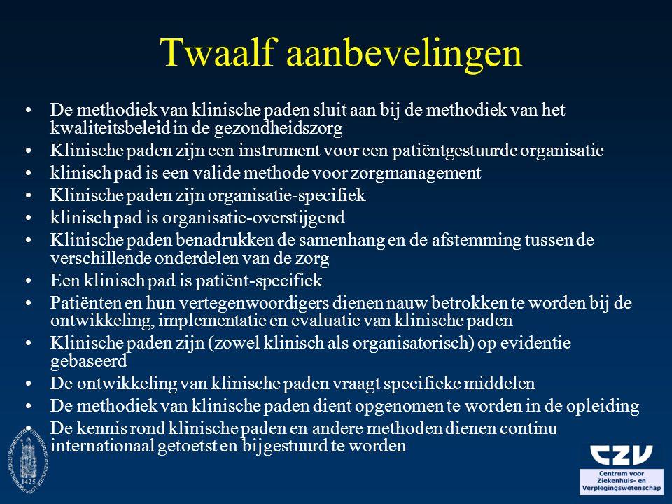 Twaalf aanbevelingen De methodiek van klinische paden sluit aan bij de methodiek van het kwaliteitsbeleid in de gezondheidszorg.