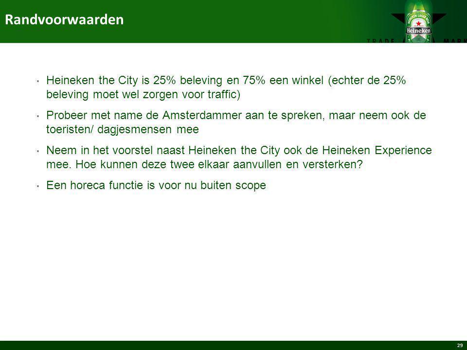 Randvoorwaarden Heineken the City is 25% beleving en 75% een winkel (echter de 25% beleving moet wel zorgen voor traffic)