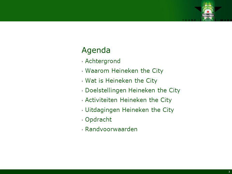 Agenda Achtergrond Waarom Heineken the City Wat is Heineken the City