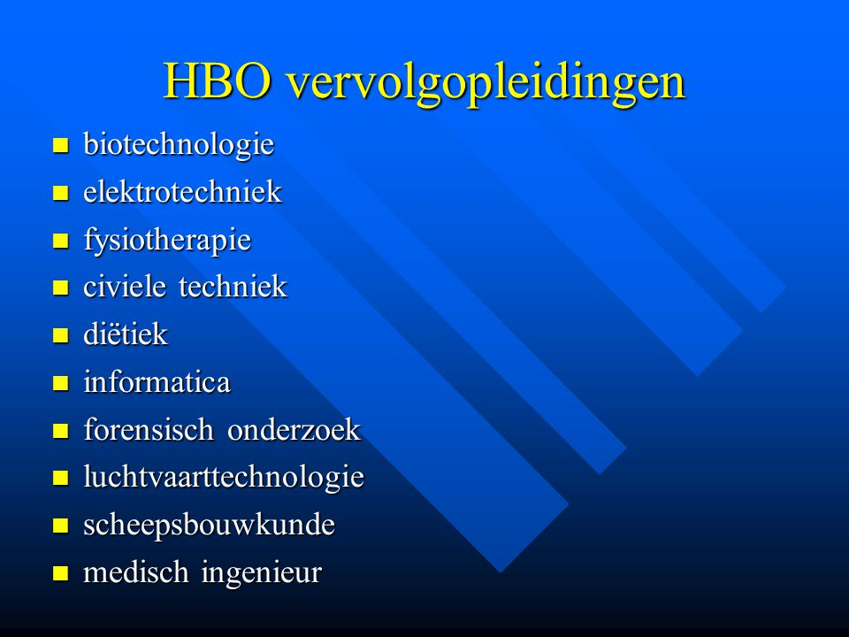 HBO vervolgopleidingen