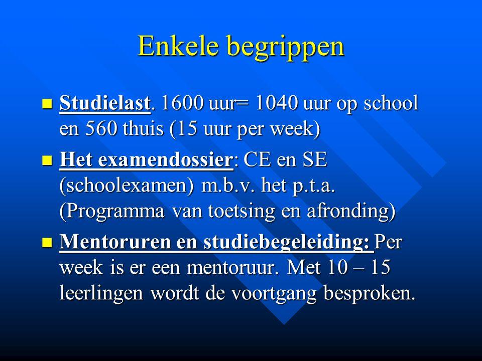 Enkele begrippen Studielast. 1600 uur= 1040 uur op school en 560 thuis (15 uur per week)