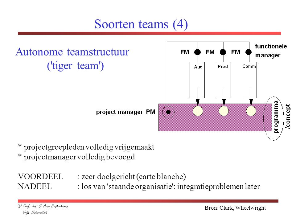 Soorten teams (4) Autonome teamstructuur ( tiger team )