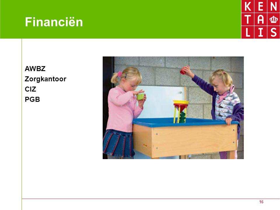 Financiën AWBZ Zorgkantoor CIZ PGB