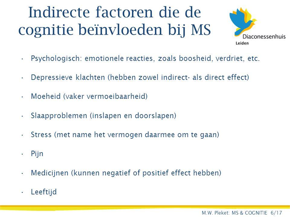 Indirecte factoren die de cognitie beïnvloeden bij MS