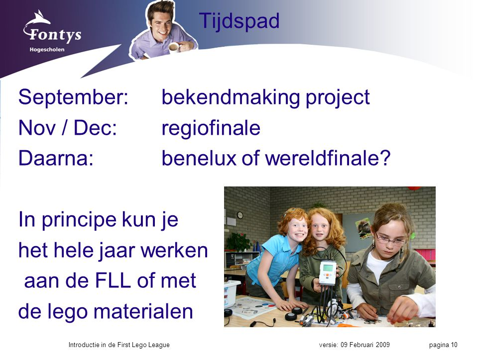 September: bekendmaking project Nov / Dec: regiofinale