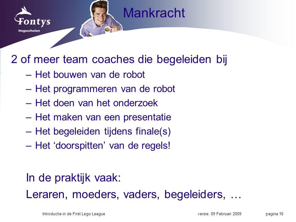 Mankracht 2 of meer team coaches die begeleiden bij