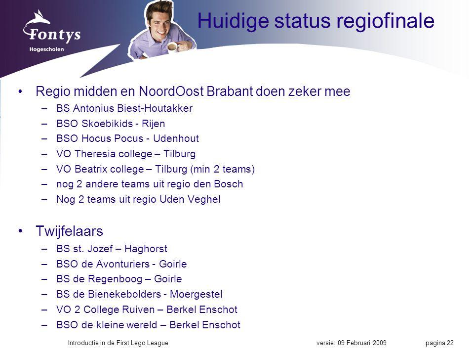 Huidige status regiofinale