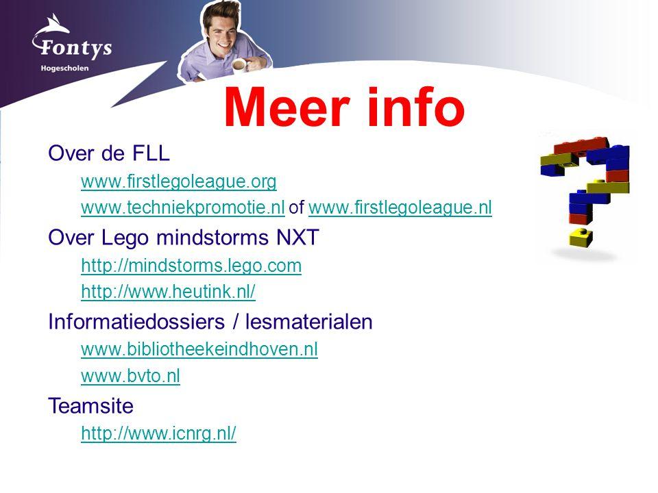 Meer info Over de FLL Over Lego mindstorms NXT