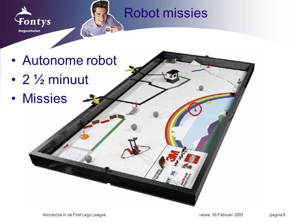 Robot missies Autonome robot 2 ½ minuut Missies
