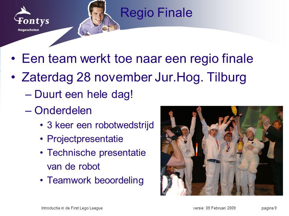 Een team werkt toe naar een regio finale