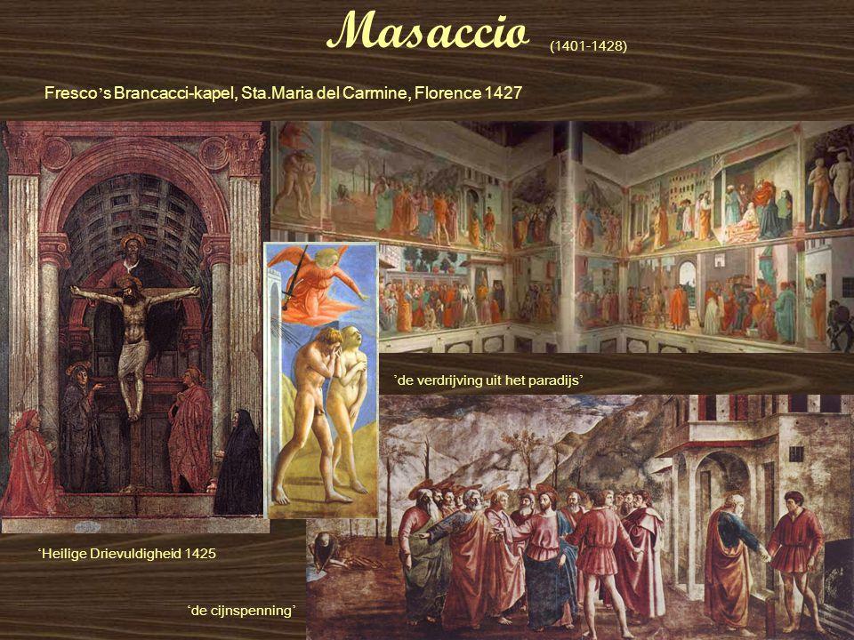 Masaccio (1401-1428) Fresco's Brancacci-kapel, Sta.Maria del Carmine, Florence 1427. 'de verdrijving uit het paradijs'