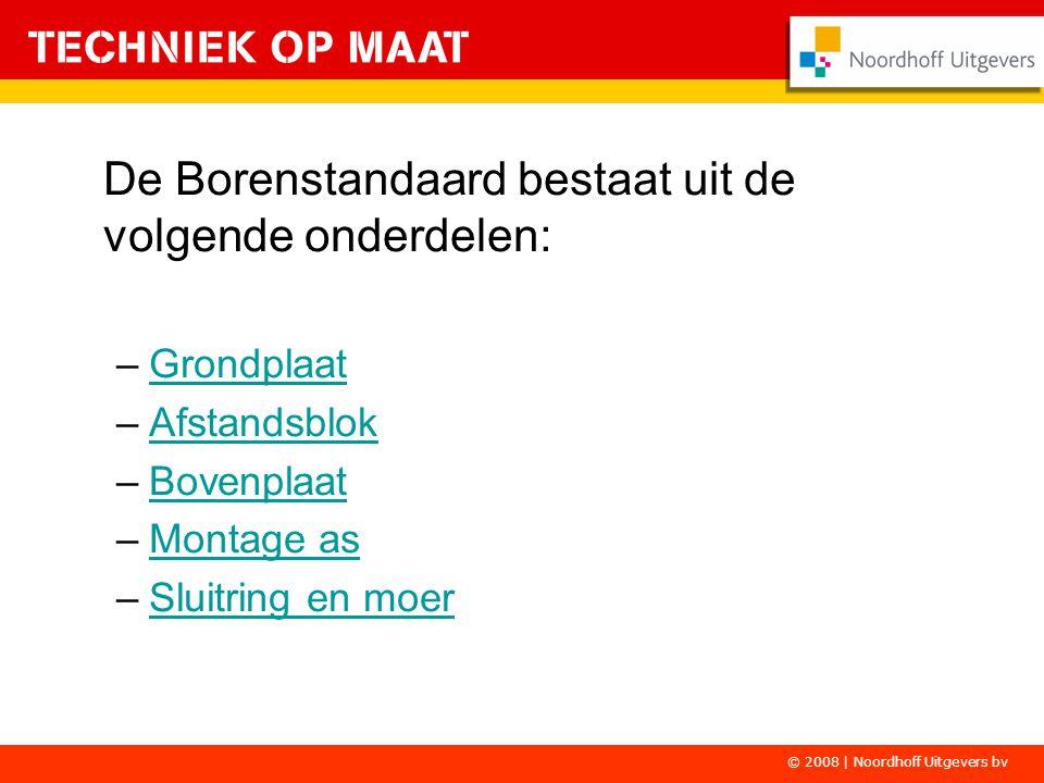 De Borenstandaard bestaat uit de volgende onderdelen:
