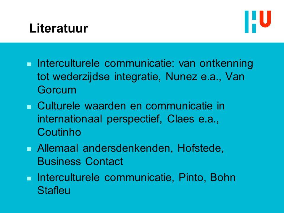 Literatuur Interculturele communicatie: van ontkenning tot wederzijdse integratie, Nunez e.a., Van Gorcum.