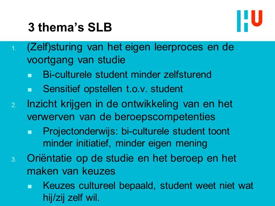 3 thema's SLB (Zelf)sturing van het eigen leerproces en de voortgang van studie. Bi-culturele student minder zelfsturend.