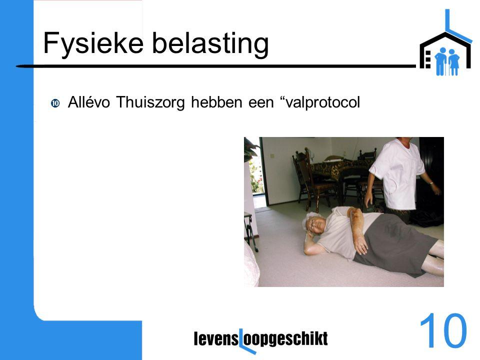 Fysieke belasting Allévo Thuiszorg hebben een valprotocol
