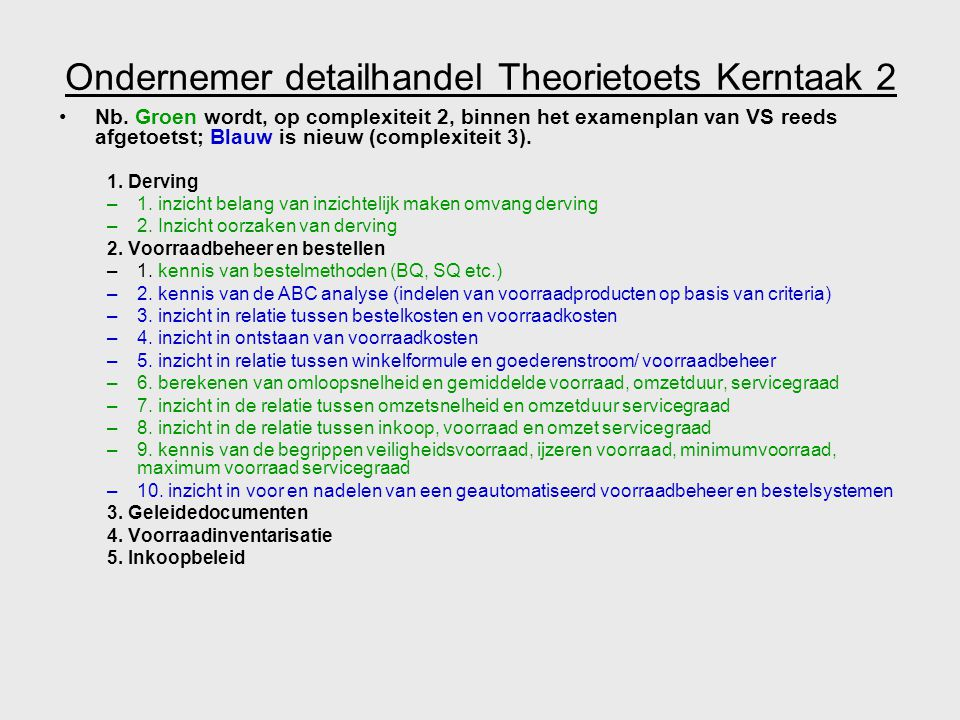 Ondernemer detailhandel Theorietoets Kerntaak 2