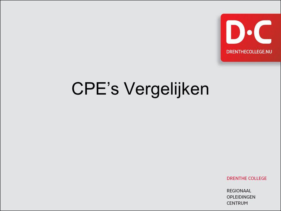 CPE's Vergelijken Opzet 2008-2009