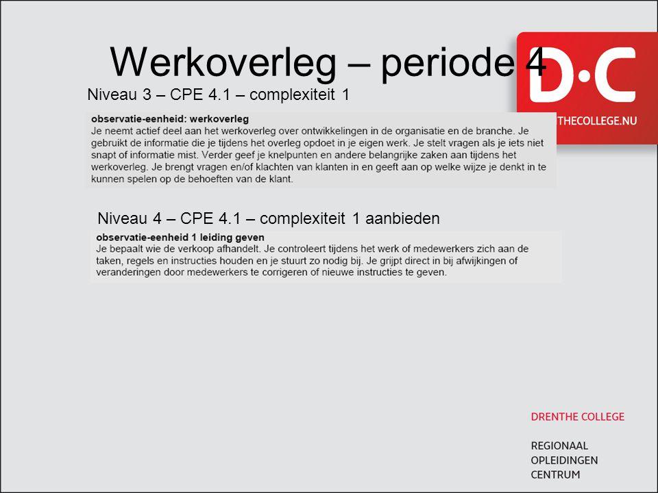 Werkoverleg – periode 4 Niveau 3 – CPE 4.1 – complexiteit 1