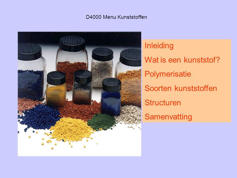 Inleiding Wat is een kunststof Polymerisatie Soorten kunststoffen