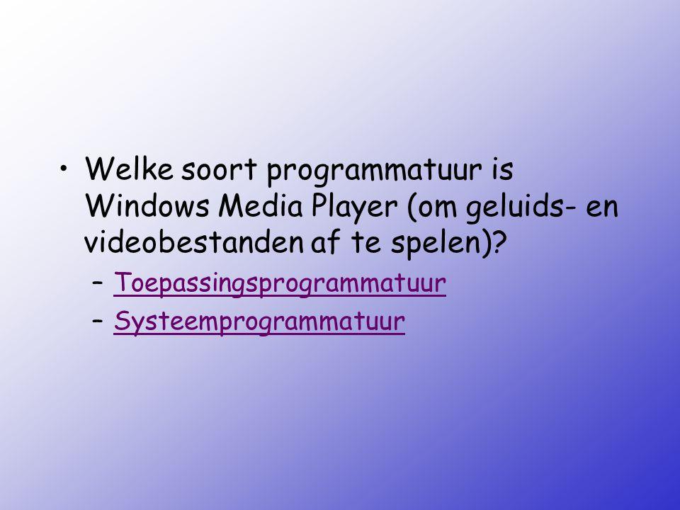 Welke soort programmatuur is Windows Media Player (om geluids- en videobestanden af te spelen)