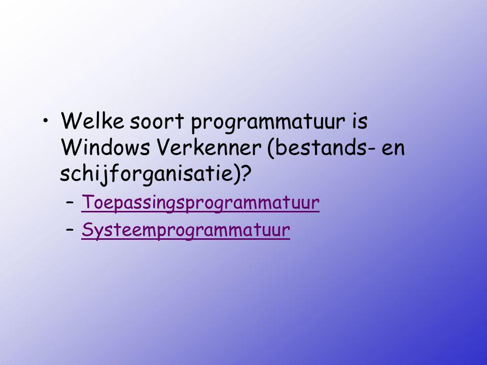 Welke soort programmatuur is Windows Verkenner (bestands- en schijforganisatie)