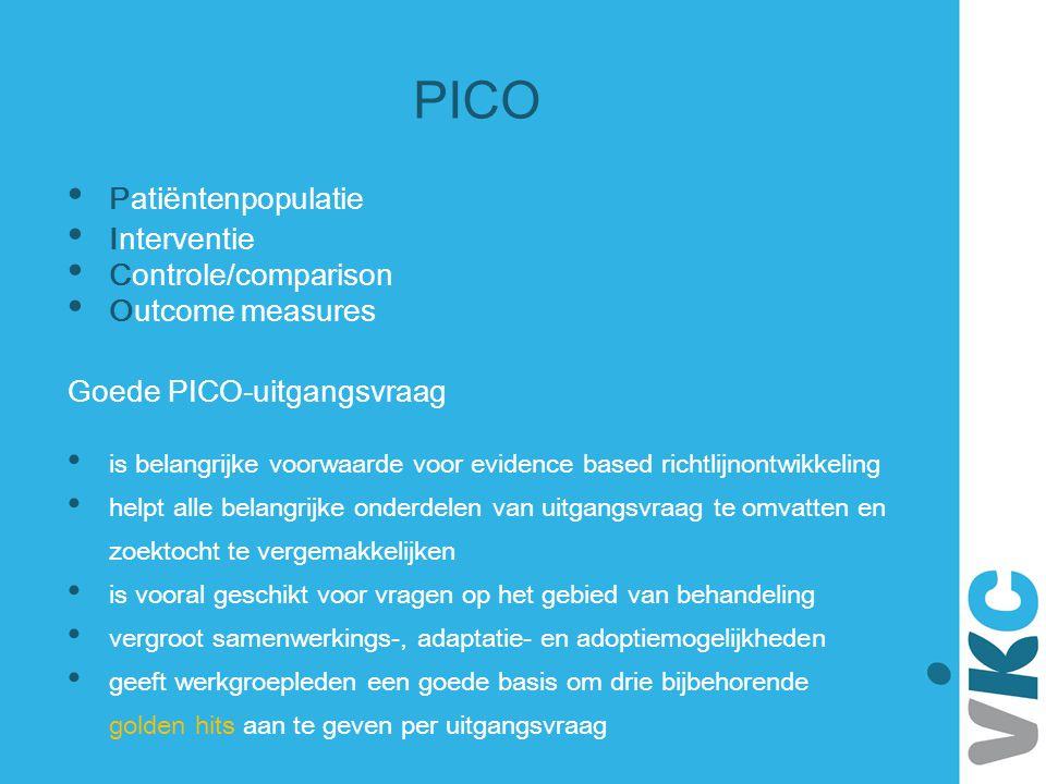 PICO Patiëntenpopulatie Interventie Controle/comparison