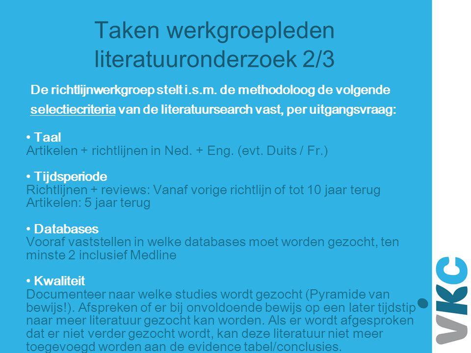 Taken werkgroepleden literatuuronderzoek 2/3