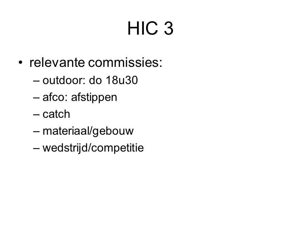 HIC 3 relevante commissies: outdoor: do 18u30 afco: afstippen catch