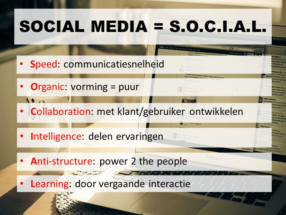 SOCIAL MEDIA = S.O.C.I.A.L. Speed: communicatiesnelheid
