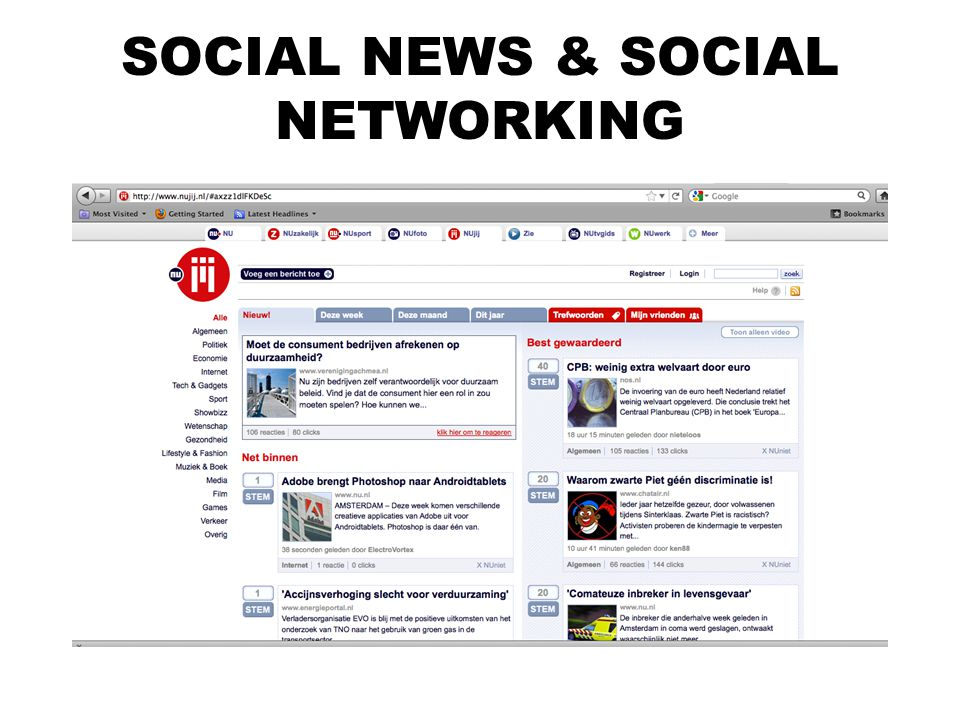 SOCIAL NEWS & SOCIAL NETWORKING