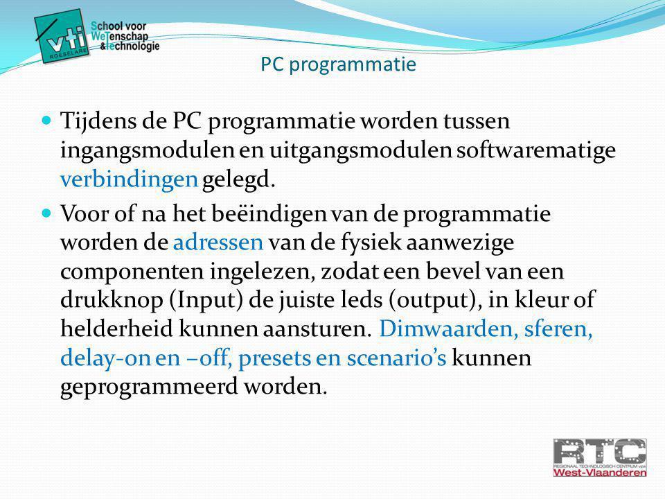 PC programmatie Tijdens de PC programmatie worden tussen ingangsmodulen en uitgangsmodulen softwarematige verbindingen gelegd.