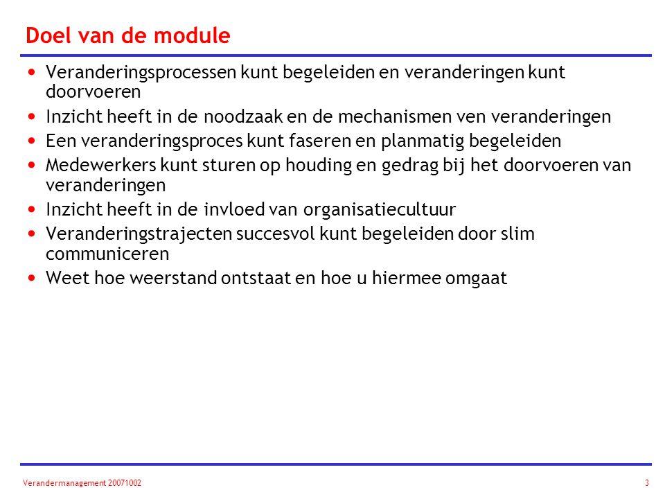 Doel van de module Veranderingsprocessen kunt begeleiden en veranderingen kunt doorvoeren.