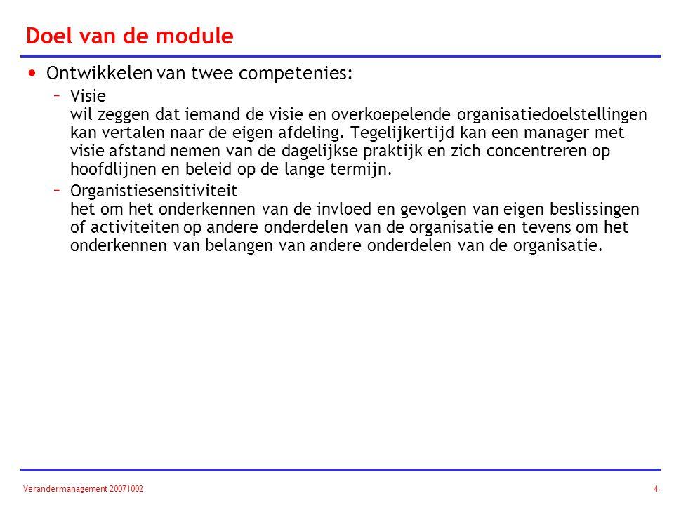 Doel van de module Ontwikkelen van twee competenies: