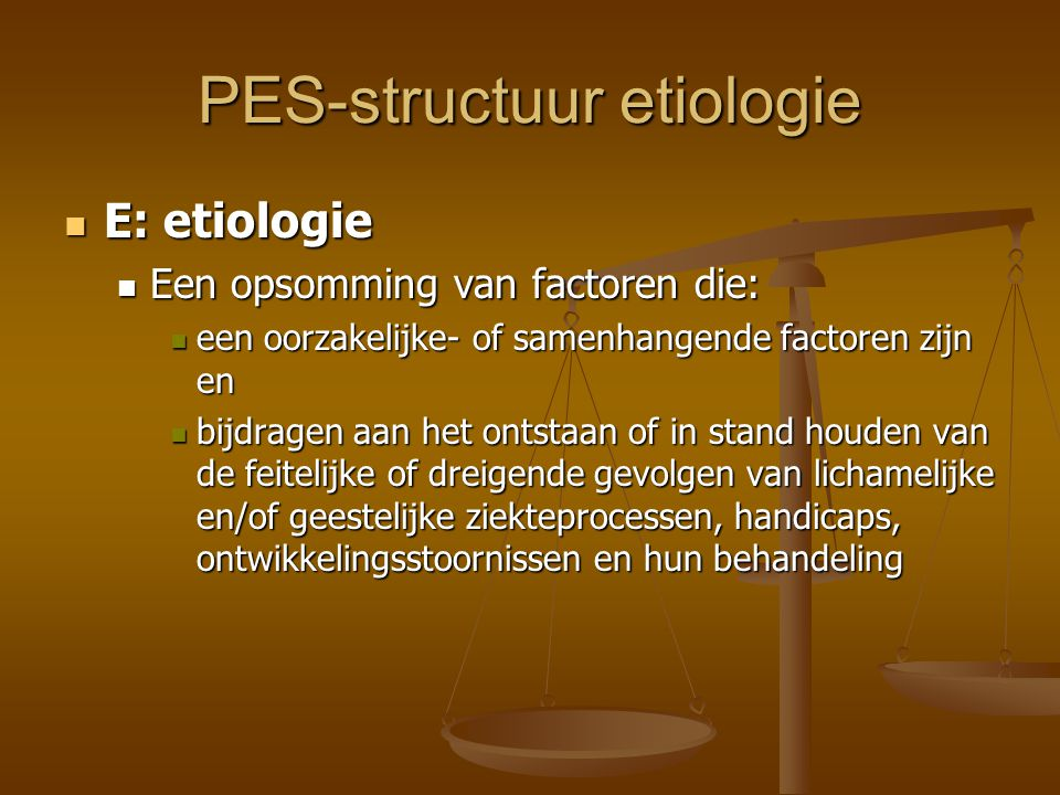 PES-structuur etiologie