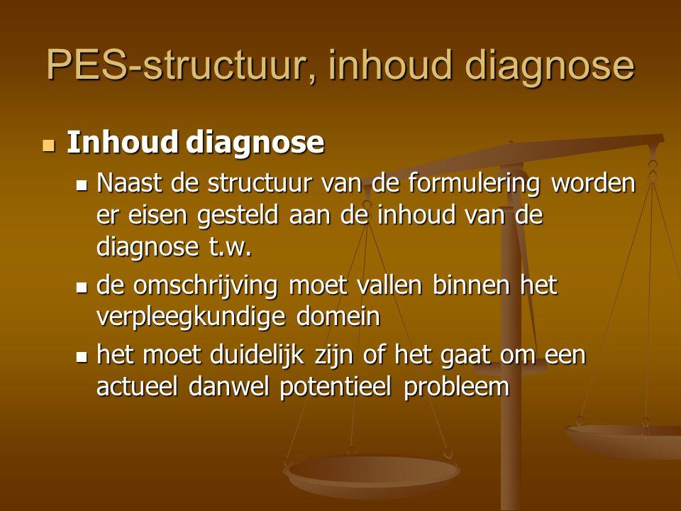 PES-structuur, inhoud diagnose