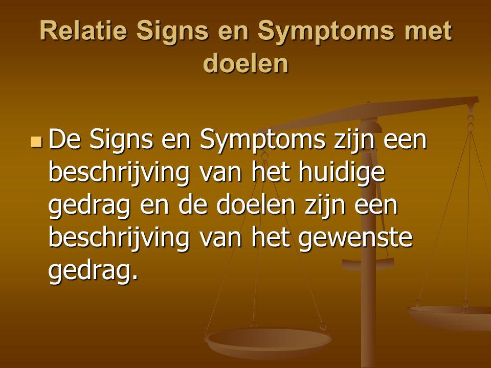 Relatie Signs en Symptoms met doelen