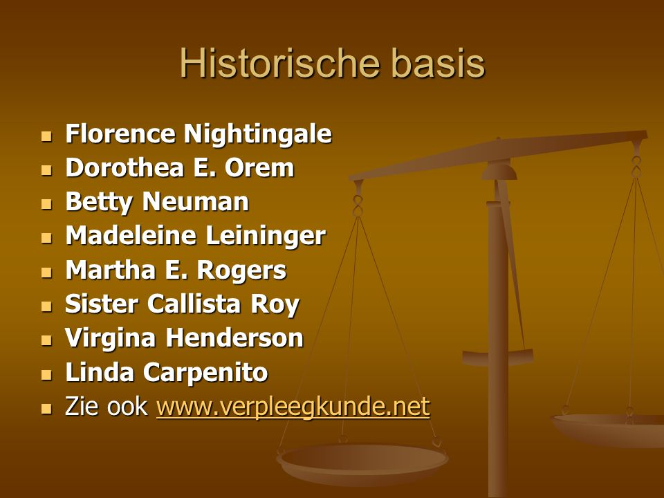 Historische basis Florence Nightingale Dorothea E. Orem Betty Neuman